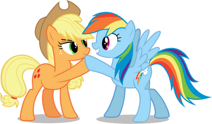 AJ and rainbow doing brohoof