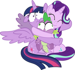 Starlight Hugging Twilight and Spike