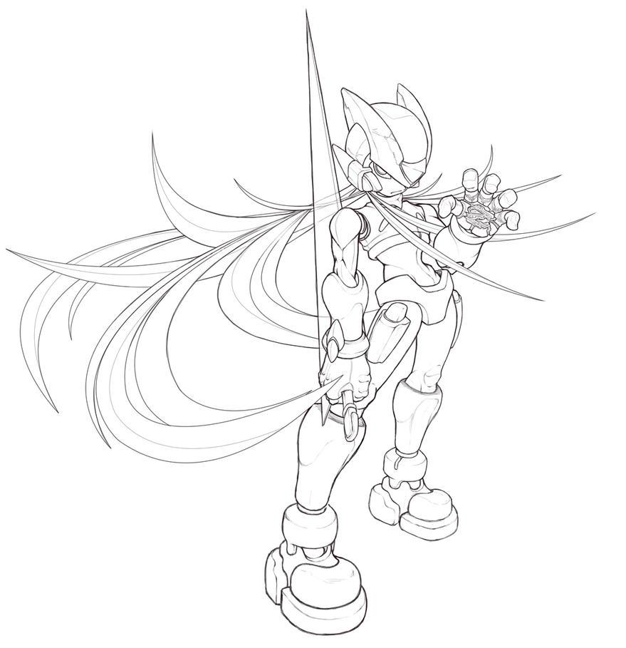 Line Art Zero : Megaman zero lineart by benji d on deviantart