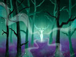 Misty forest and magic Deer