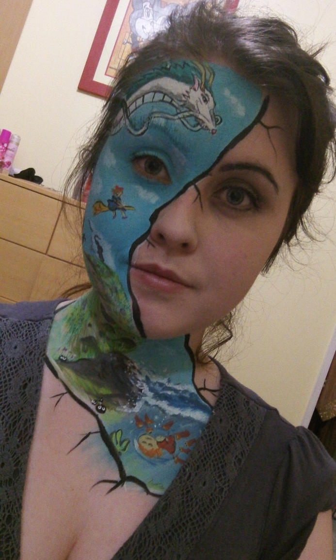 Studio Ghibli facepaint :) by Blueberrystarbubbles