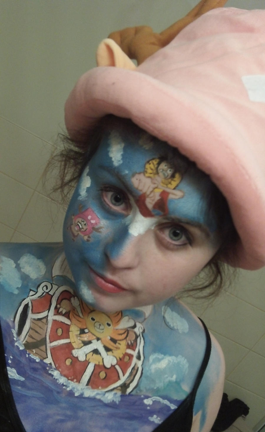 One Piece Face paint!!! :D by Blueberrystarbubbles
