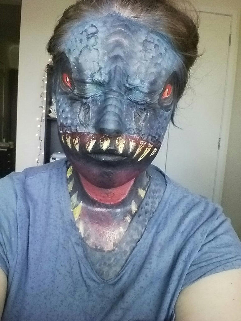 Jurassic world facepaint by Blueberrystarbubbles