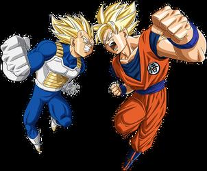 Goku SSJ vs Vegeta SSJ render [Bucchigiri Match] by maxiuchiha22