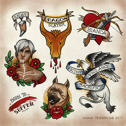 *more Dragon Age Tattoo Flash