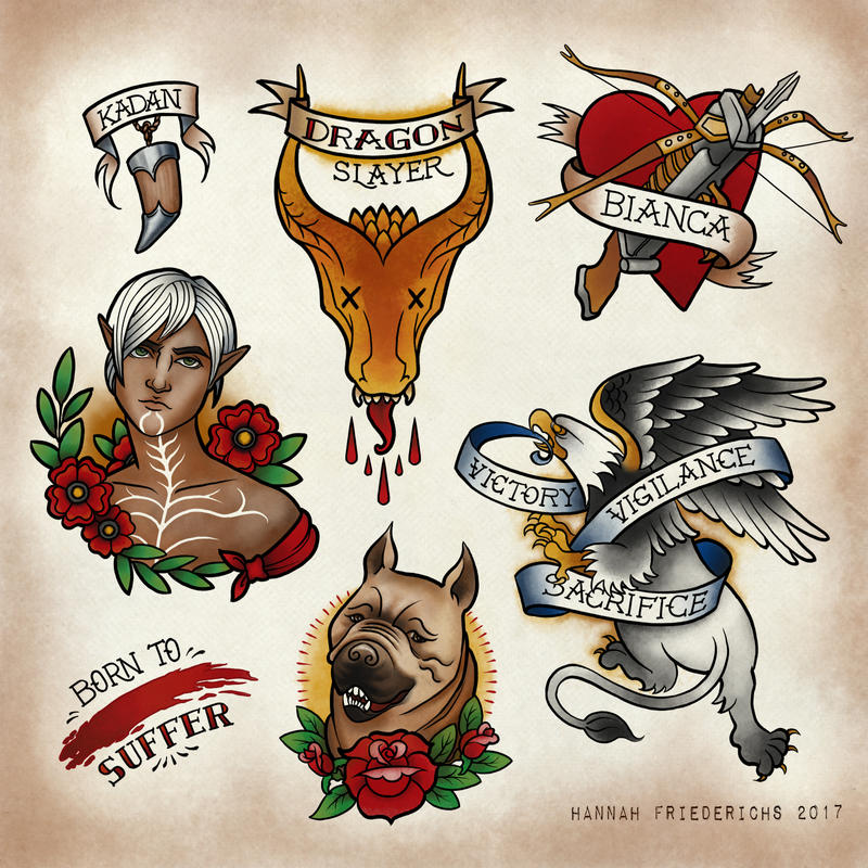 *more Dragon Age Tattoo Flash by AgarthanGuide