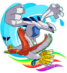 Lugia and Ho-Oh by RatShadows