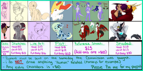 Commissions Price Sheet