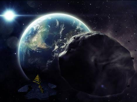 Ha'tak approaching asteroid