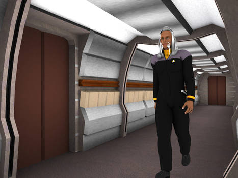 Walking along starfleet ship corridor