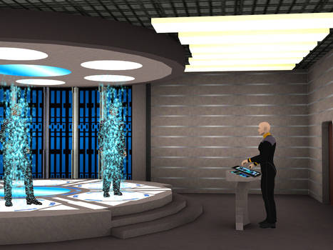 Using starfleet ship transporter room