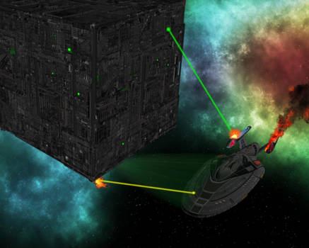 Similar Starfleet Sovereign ship vs Borg Cube