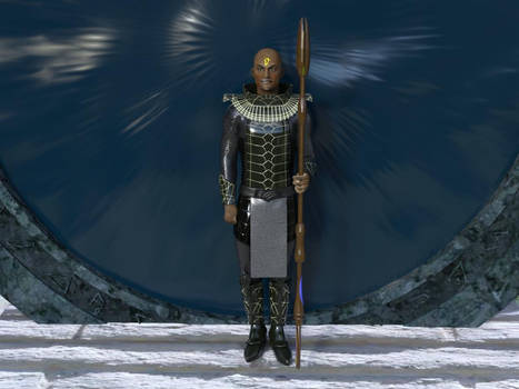 Jaffa with staff weapon from Stargate