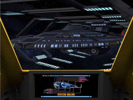 Similar Starfleet Sovereign class ship in drydock