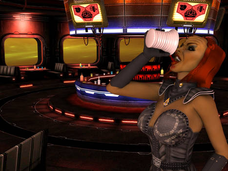 Klingon female drinking