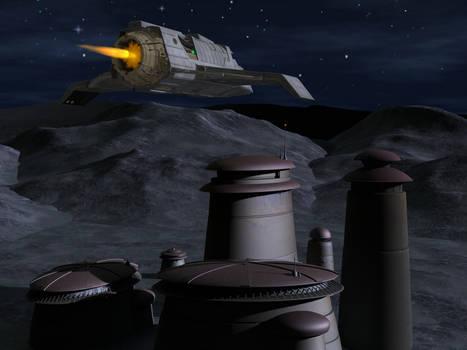 Bajoran Raider flying at night
