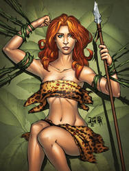 Jungle Girl Base Card with Gough by mechangel2002