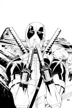 Official Deadpool Movie Poster Lineart