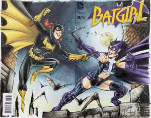 Scott McDaniel Batgirl Huntress sketch colours