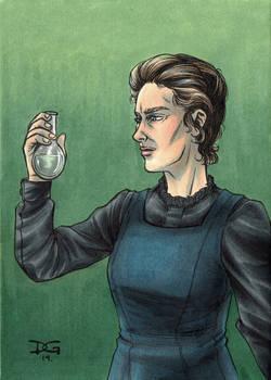 Marie Curie flashcard art