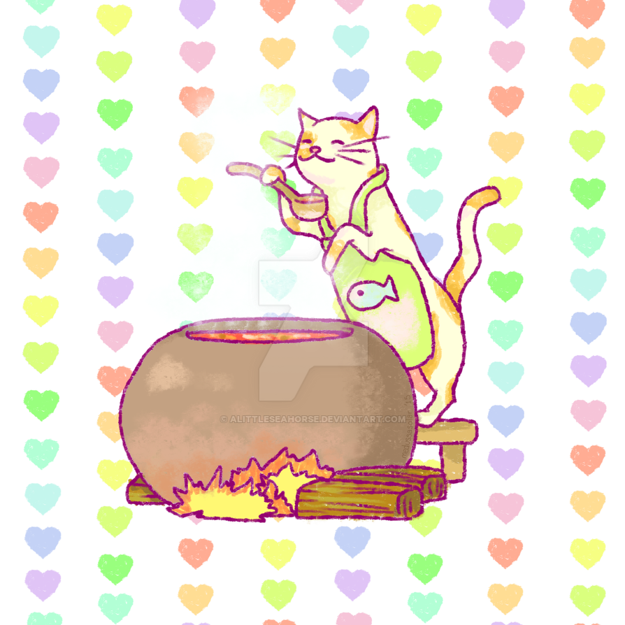 Cat Cooking by ALittleSeahorse