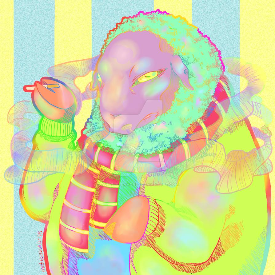 Sheep Smoking by ALittleSeahorse