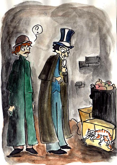 Holmes Watson and kitties by elina-elsu
