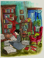 Holmes and Watson tidying by elina-elsu