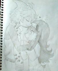 mogeko OC sketch (kiss)