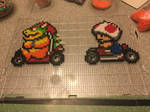 Bowser and Toad Mario Kart perler bead sprites