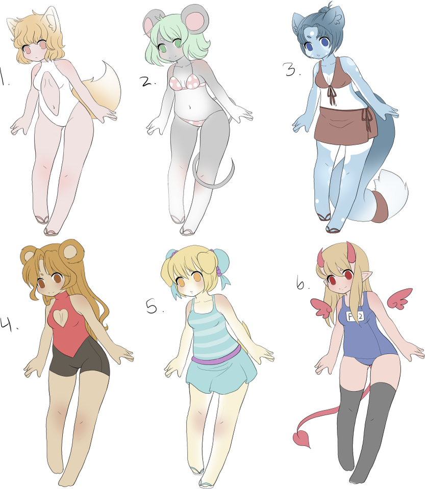 Swimsuit Adopts - 4 Open by Kurodoptables