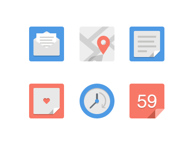 Simple flat icons set by Mythic12