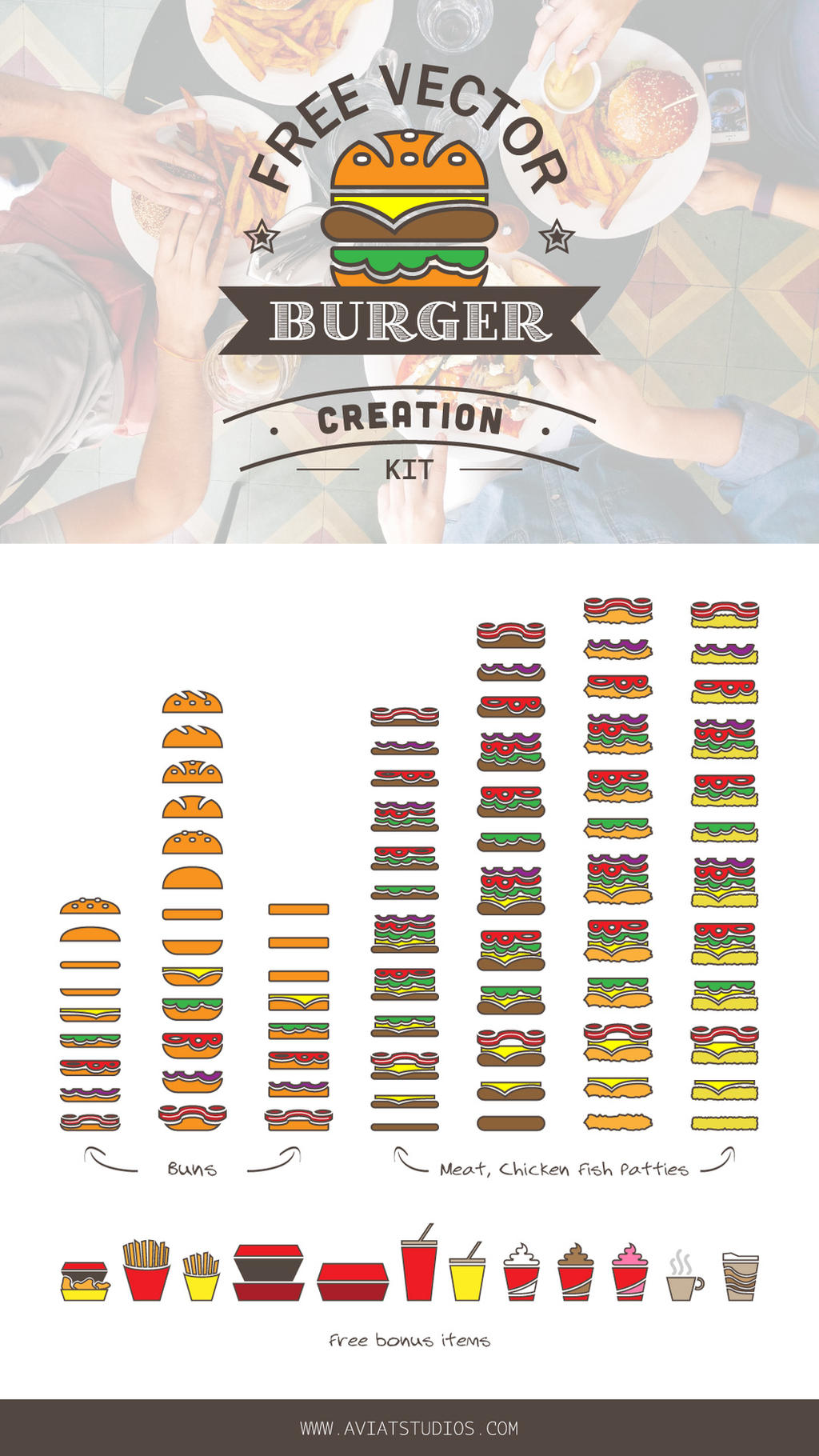 Free Vector Burger Creation Kit by aviatStudios