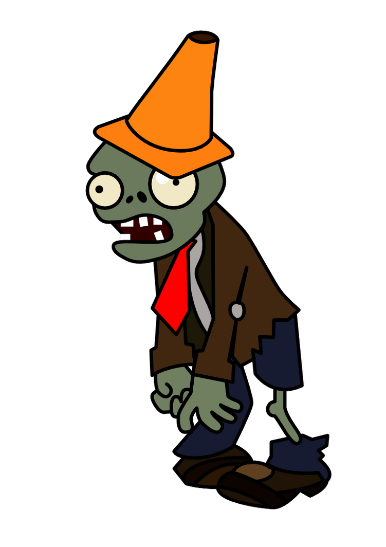 Conehead Zombie by epicpoodle on DeviantArt Plants Vs Zombies Zombie Head Png