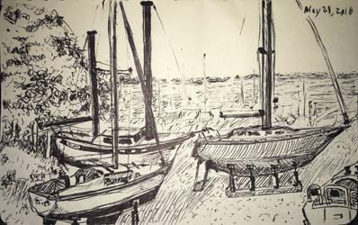 Boatyard on Muskegon Lake by epicpoodle