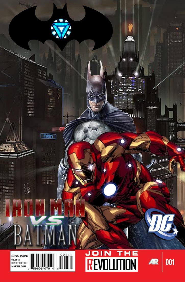 Iron Man vs. Batman (Marvel Now style cover) by Pitermaksimoff