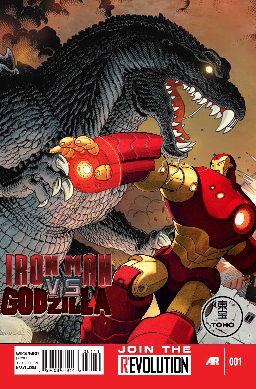 Iron Man vs. Godzilla #1 (Marvel Now style cover) by Pitermaksimoff