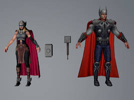 Thor and Thor Jane Foster (MarvelFF 3DModel) by Pitermaksimoff
