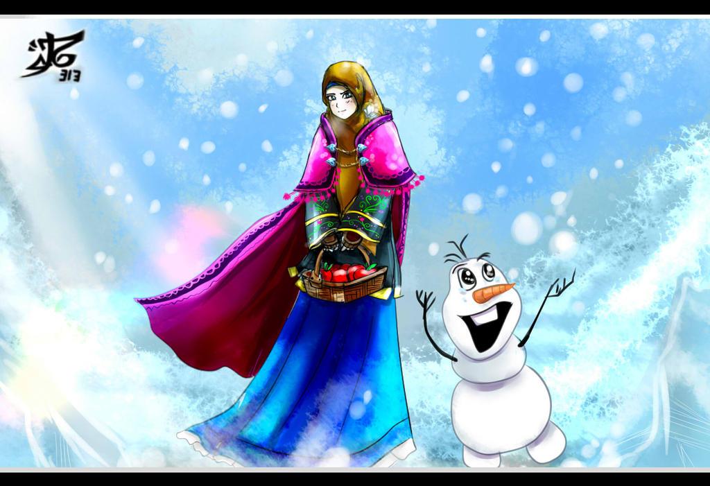 Azalia Hikari in Anna Frozen Mode and Olaf by Alaudeen313