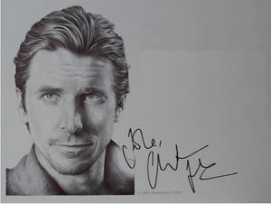 Christian Bale - signed portrait (ballpoint pen)