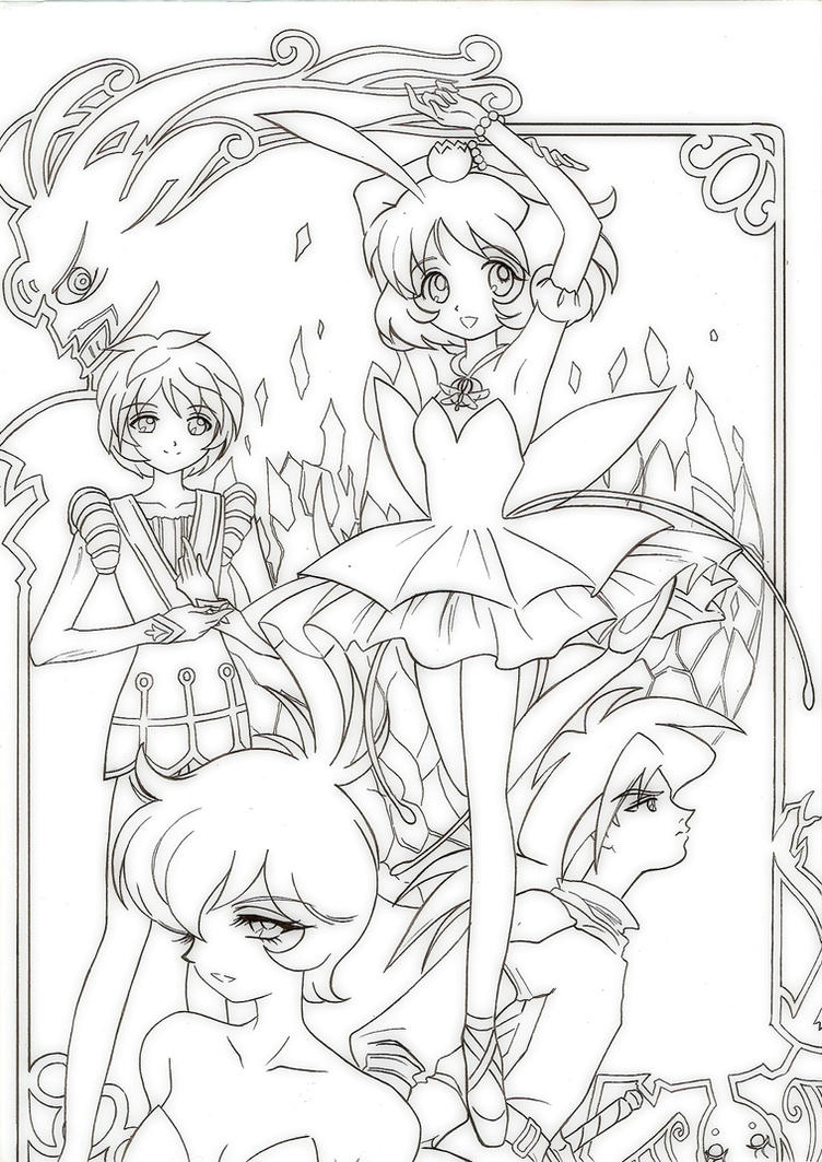dreamy ballet lineart by fighter chan - Coloring Pages Anime Princesses
