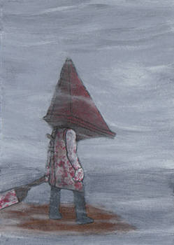 Pyramid Head in the fog