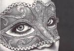 masquerade - ballpoint pen drawing