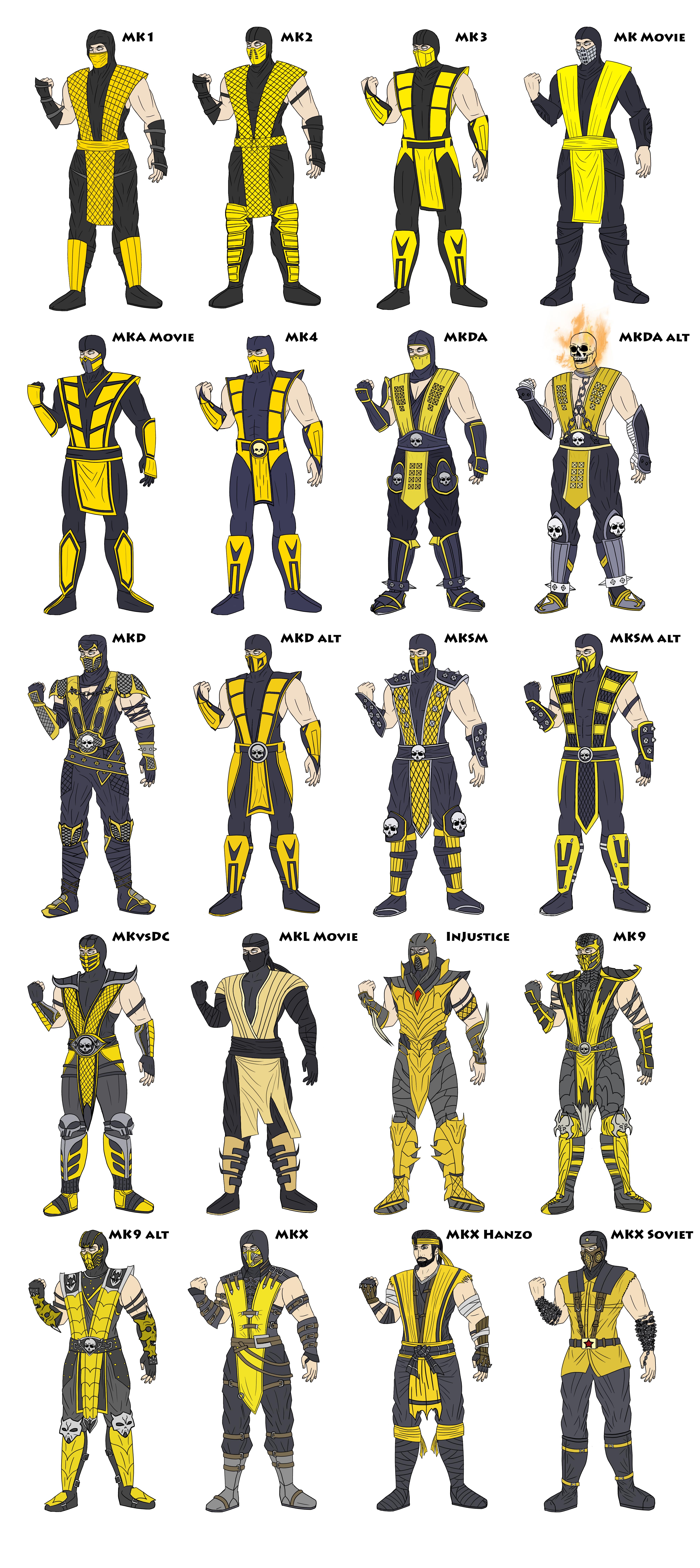MK - Scorpion Costume Evolution - Coloured by ...