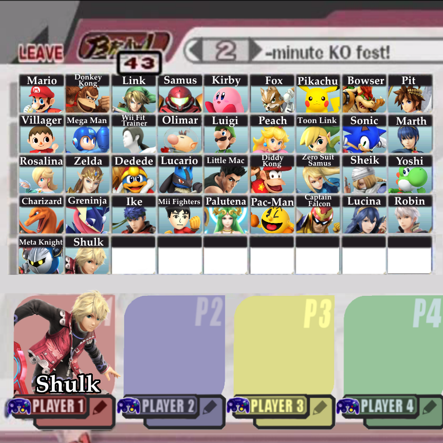 super smash bros 4 3ds character select screen www