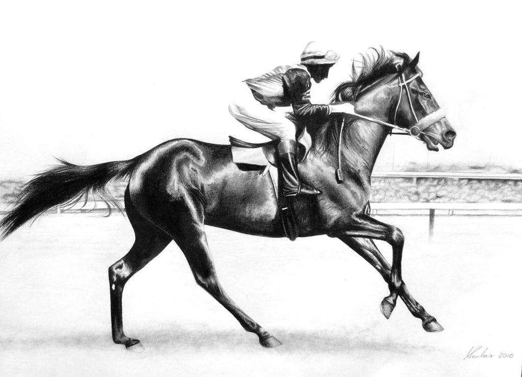 Horse Racing Drawing Easy