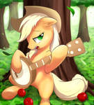 Applejack playing her banjo