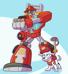 Fire Fighting Duo by Dog22322
