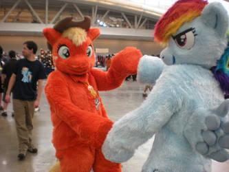 Rainbow Dash and Applejack by Skyfirefox