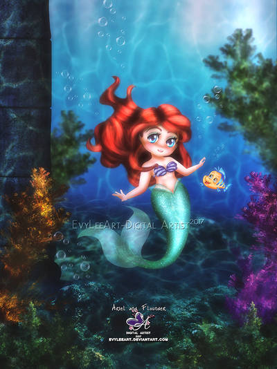 Ariel and Flounder by EvyLeeArt